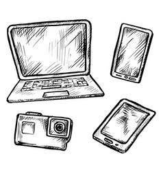 modern digital gadget hand drawn doodle sketch vector image