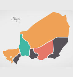 niger map with states and modern round shapes vector image
