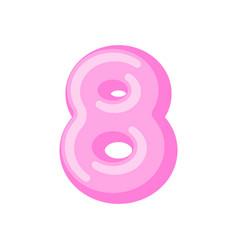 number 8 candy font caramel alphabet eight vector image