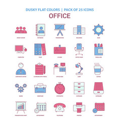 Office icon dusky flat color - vintage 25 icon vector