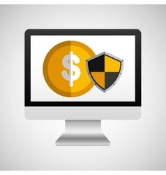 Online protection digital coin vector