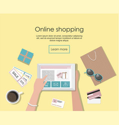 Online shopping banner with digital tablet vector