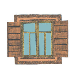 Painted window part of the house vector