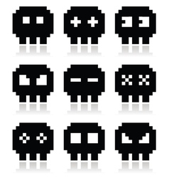 Pixelated 8bit skull icons set vector image