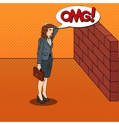 Pop Art Business Woman in Front of a Brick Wall vector