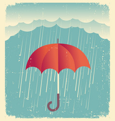 rain clouds with red umbrellavintage poster on vector image vector image
