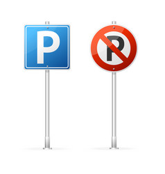 realistic detailed 3d no parking and parking road vector image