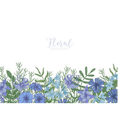 rectangular background decorated with blue wild vector image