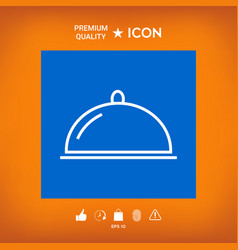 Restaurant steel serving tray cloche line icon vector