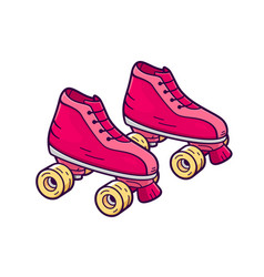 retro quad roller skates icon vector image