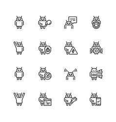 Robot or bot related icon set in thin line style vector