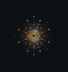 Sacred geometry gold esoteric flower life logo vector