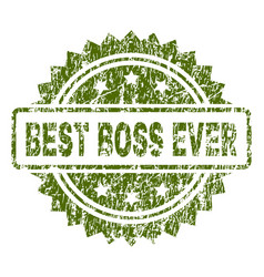 Scratched textured best boss ever stamp seal vector