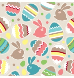 seamless Easter pattern with rabbits vector image