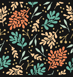 Seamless pattern with plants on black background vector