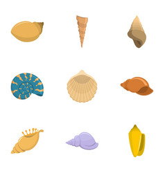 Seashell icons set cartoon style vector