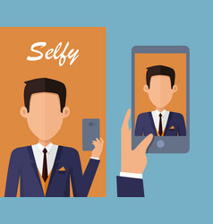 selfy on smartphone young man taking self vector image