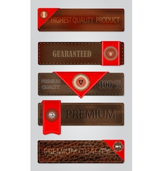 Set of leather premium quality labels and emblems vector image