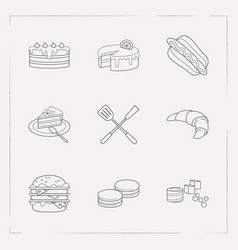 set of pastry icons line style symbols with double vector image