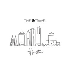 Single continuous line drawing houston city vector