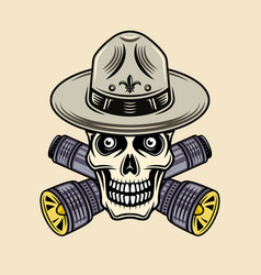 skull boy scout in hat with flashlights vector image
