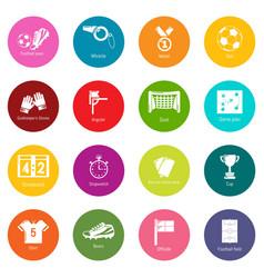 soccer football icons set colorful circles vector image
