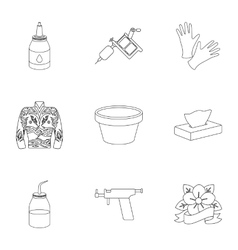 Tattoo studio set icons in outline style Big vector image
