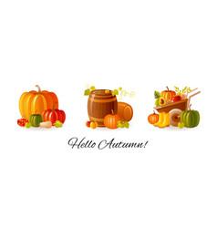 Thanksgiving set autumn fall cartoon vector