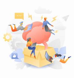 Thinking beyond box tiny entrepreneurs vector