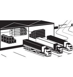 Trucks loading goods in warehouse vector
