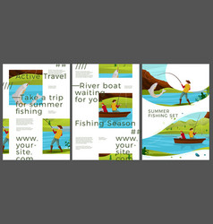 typographic summer posters - river fishing vector image