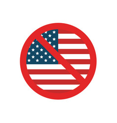 usa flag with forbidden sign vector image