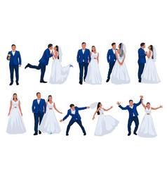 Wedding set groom and bride vector