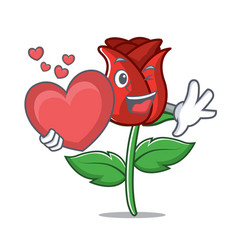 with heart red rose mascot cartoon vector image