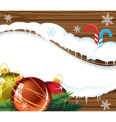 Wooden billboard with Christmas baubles vector image