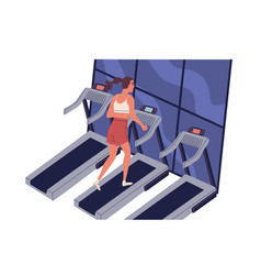 young smiling woman running on treadmill at vector image