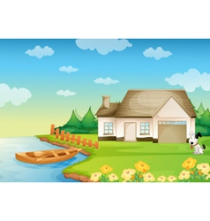 a house on the bank vector image