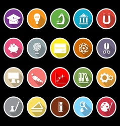 Education icons with long shadow vector image