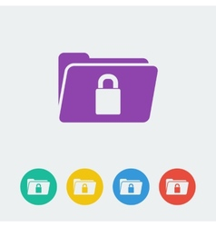 folder lock flat circle icon vector image vector image