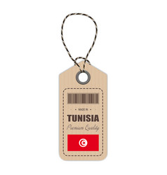 hang tag made in tunisia with flag icon isolated vector image vector image