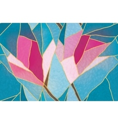 Multicolored stained glass with floral motif vector image