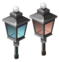 Two vintage street lamp on white background vector image