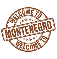welcome to montenegro brown round vintage stamp vector image vector image