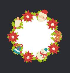 christmas wreath with snowman christmas wreath vector image
