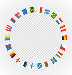 Color flags of differemt countries on transparent vector
