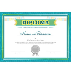 Colorful diploma certificate template for kids vector image vector image