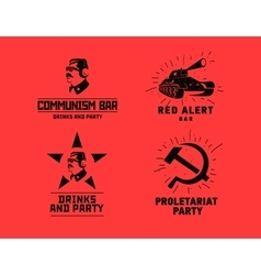 Communism style logos restaurant bar design vector image