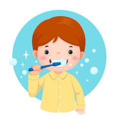cute boy brushing his teeth vector image