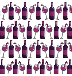 glass and blottle of wine background vector image