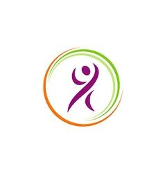 people fitness happy sport yoga logo vector image vector image